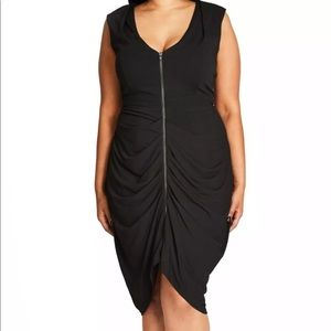 New City Chic Sleeveless Ruched Zip Front Dress 14